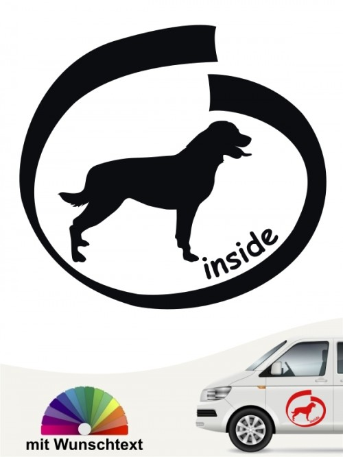 Rottweiler inside Heckscheibenaufkleber mit Wunschtext von anfalas.de