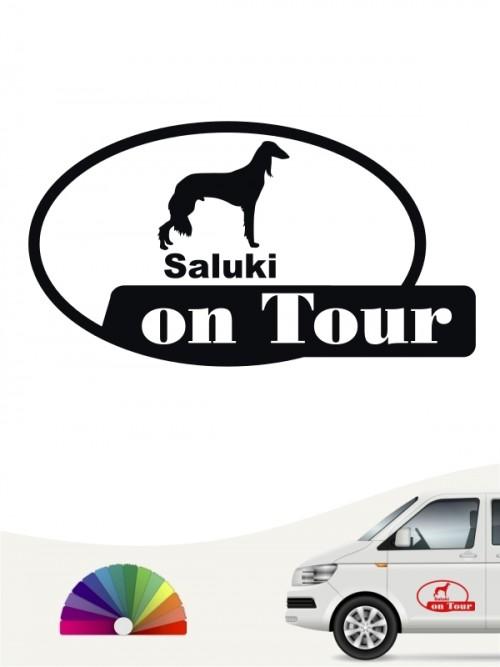 Saluki 4 mit Wunschtext Autoaufkleber von Anfalas.de