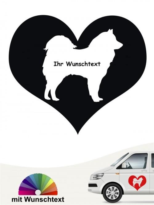 Samojede Herzmotiv mit Wunschtext von anfalas.de