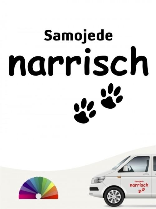 Hunde-Autoaufkleber Samojede narrisch von Anfalas.de