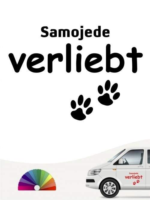 Hunde-Autoaufkleber Samojede verliebt von Anfalas.de