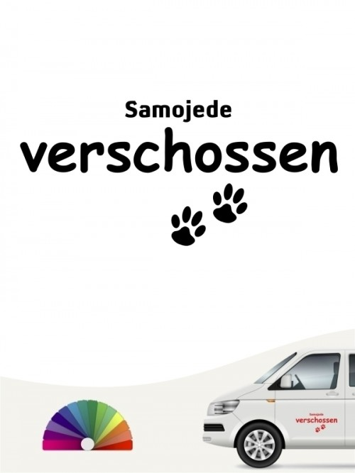 Hunde-Autoaufkleber Samojede verschossen von Anfalas.de