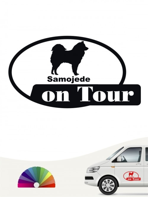 Samojede on Tour Autoaufkleber von anfalas.de