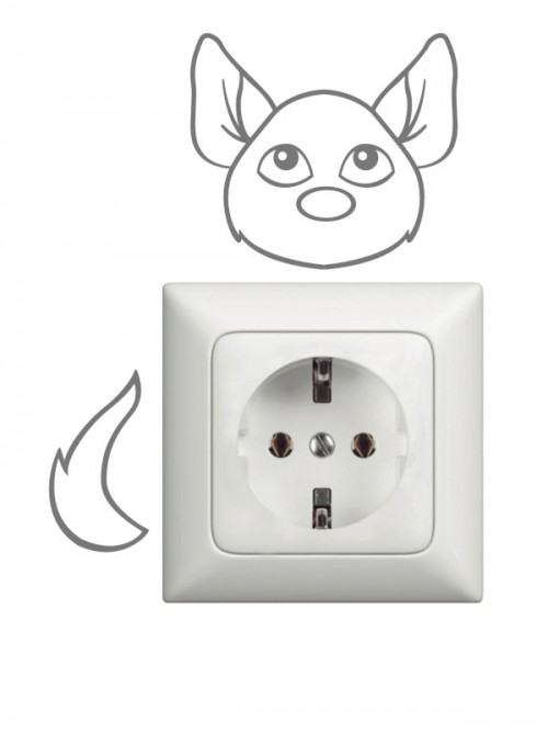 Steckdosen oder Lichtschalter Wandtattoo Hund Anfalas.de
