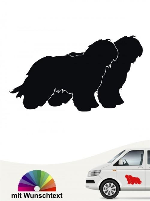 Schapendoes doppel Silhouette Hundeaufkleber mit Wunschname anfalas.de