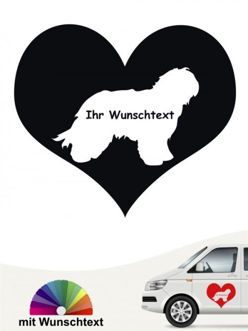 Schapendoes Sticker als Herzmotiv mit Wunschname anfalas.de