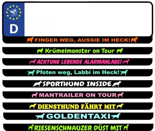 Kennzeichen Aufkleber mit Text & Rassehundemotiv von anfalas.de