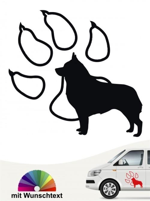 Schipperke Hundeaufkleber mit Pfote und Wunschtext anfalas.de