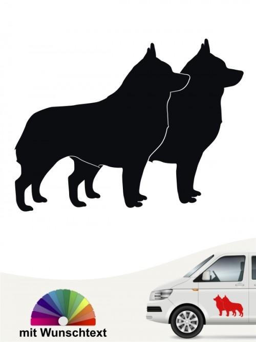 Schipperke doppel Silhouette Sticker mit Wunschtext anfalas.de