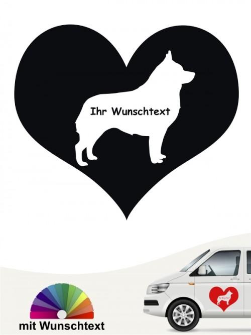 Schipperke Autosticker Herzmotiv mit Wunschtext anfalas.de