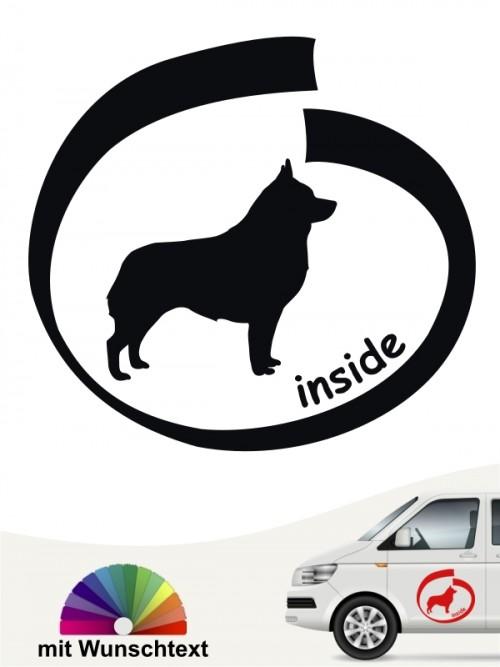 Schipperke inside Autoaufkleber mit Wunschtext anfalas.de