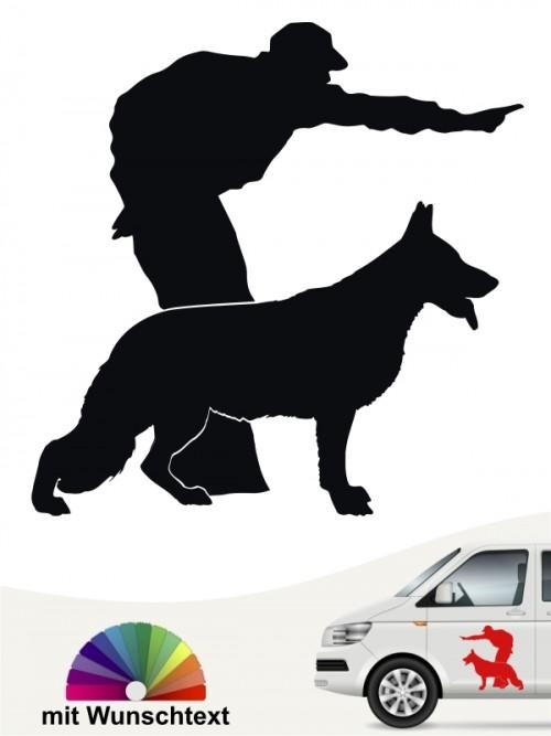 Diensthund IPO Autoaufkleber mit Wunschtext von anfalas.de