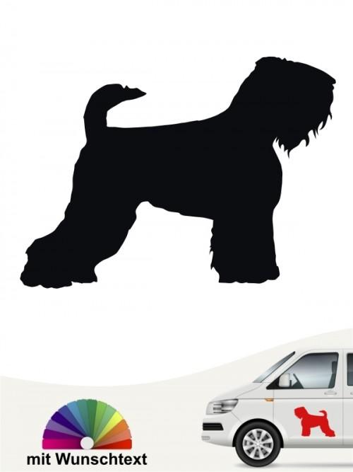 Schwarzer Terrier Hundeaufkleber mit Wunschtext anfalas.de