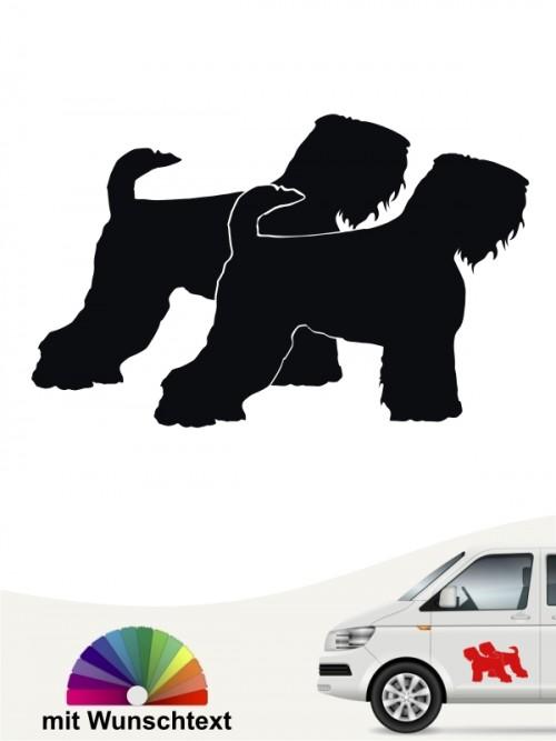 Schwarzer Terrier doppel Silhouette Aufkleber mit Wunschtext anfalas.de