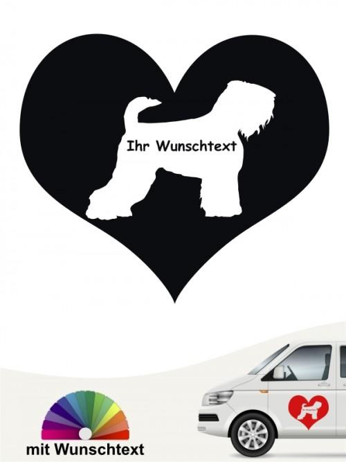 Schwarzer Terrier Herzmotiv Autoaufkleber mit Wunschname anfalas.de