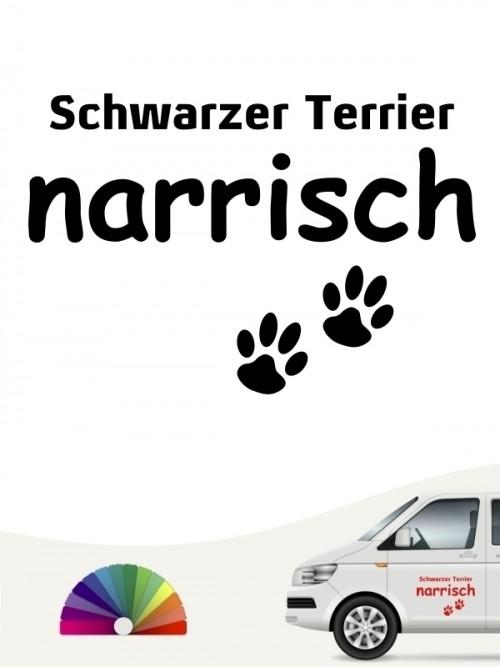 Hunde-Autoaufkleber Schwarzer Terrier narrisch von Anfalas.de