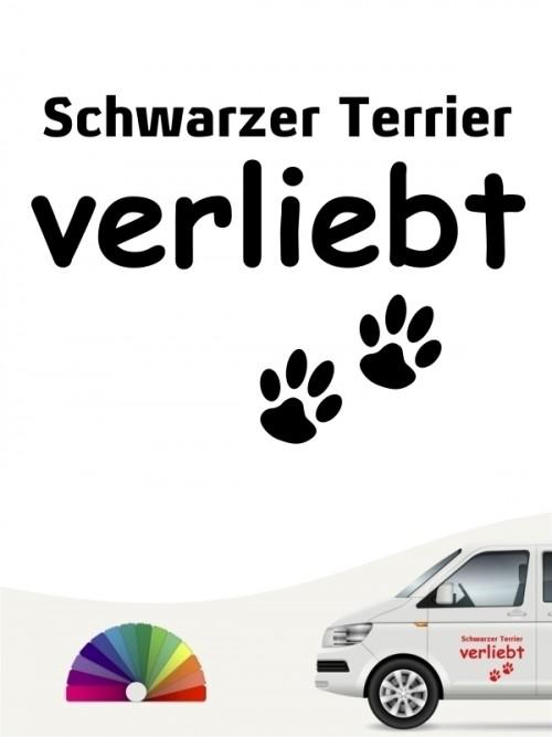 Hunde-Autoaufkleber Schwarzer Terrier verliebt von Anfalas.de