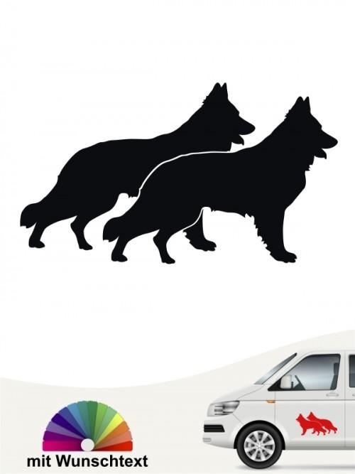 Schweizer Schäferhund doppel Silhouette Autosticker mit Wunschtext anfalas.de