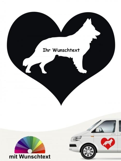Schweizer Schäferhund Herzmotiv mit Wunschname anfalas.de