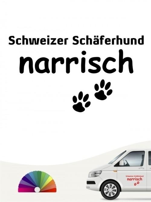 Hunde-Autoaufkleber Schweizer Schäferhund narrisch von Anfalas.de