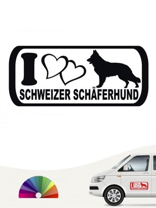 I Love Schweizer Schäferhund Heckscheibenaufkleber anfalas.de