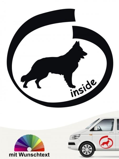 Schweizer Schäferhund inside Autoaufkleber mit Wunschtext anfalas.de
