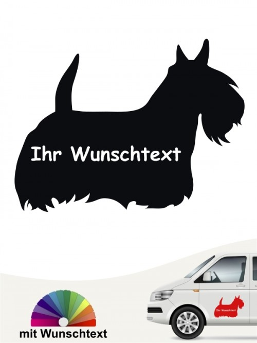 Scottish Terrier Silhouette Autosticker mit Wunschtext anfalas.de
