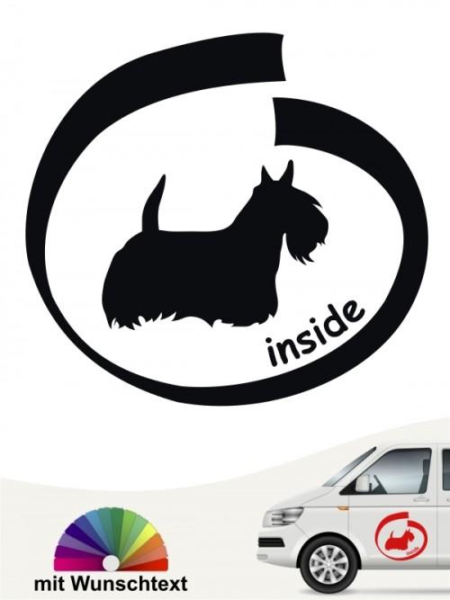 Scottish Terrier inside Hundeaufkleber mit Wunschname anfalas.de