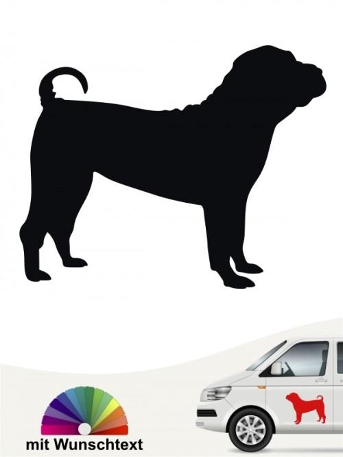 Shar Pei Silhouette Sticker mit Wunschtext anfalas.de