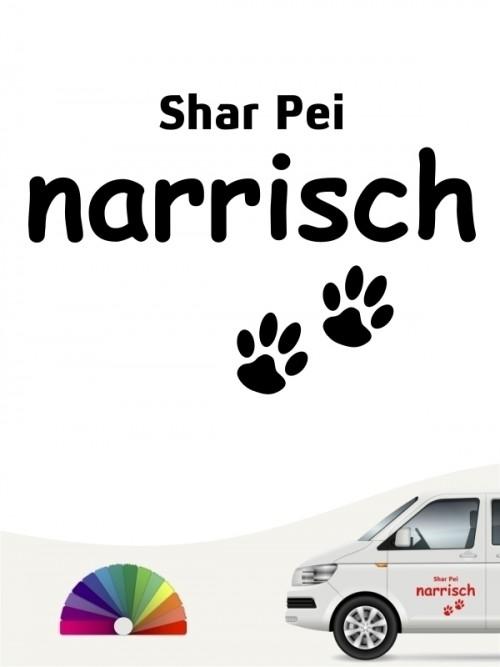 Hunde-Autoaufkleber Shar Pei narrisch von Anfalas.de