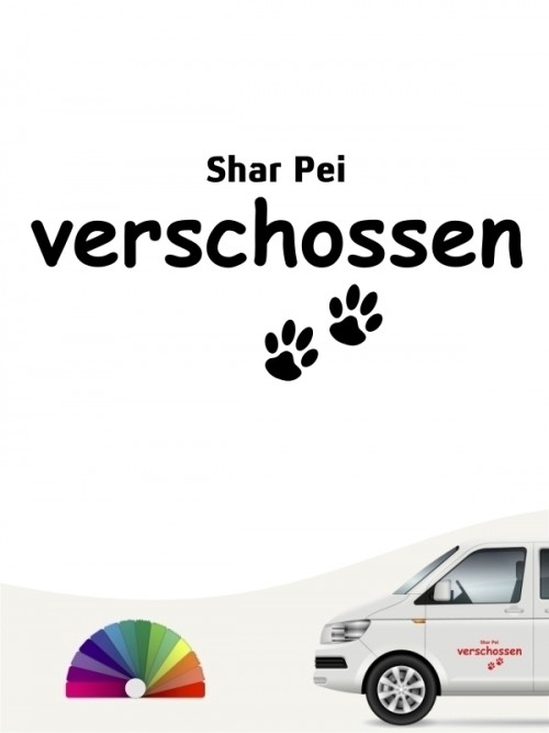 Hunde-Autoaufkleber Shar Pei verschossen von Anfalas.de
