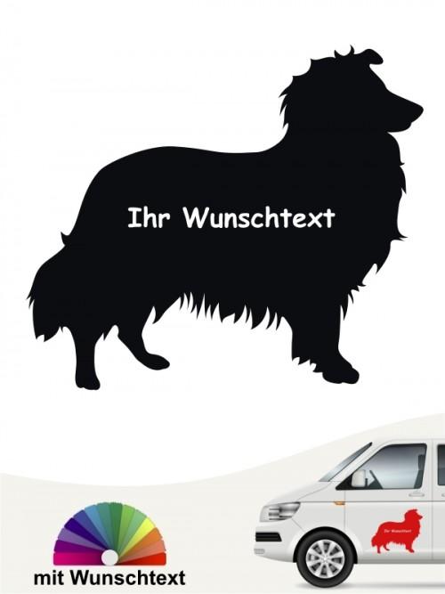 Sheltie Silhouette Sticker mit Wunschname anfalas.de