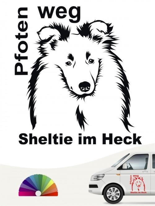 Pfoten weg Sheltie im Heck Autosticker anfalas.de