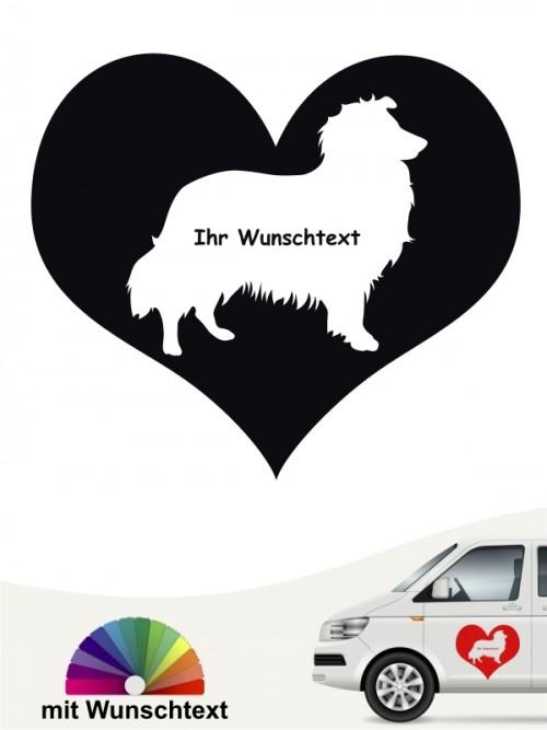 Sheltie Herzmotiv Sticker mit Wunschname anfalas.de