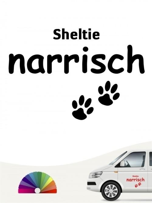 Hunde-Autoaufkleber Sheltie narrisch von Anfalas.de