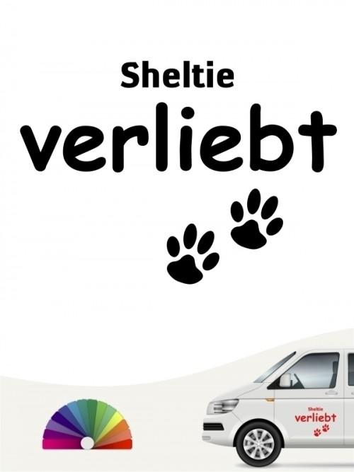 Hunde-Autoaufkleber Sheltie verliebt von Anfalas.de