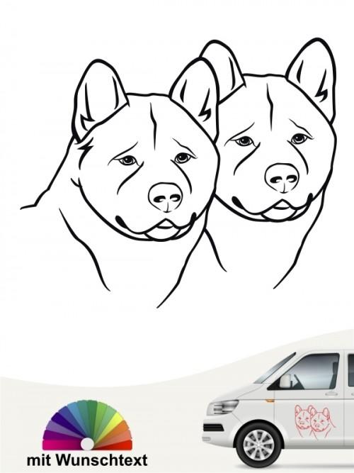 Shiba Inu doppel Köpfe Autosticker mit Wunschtext anfalas.de