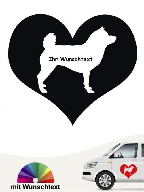Shiba Inu Herzmotiv mit Wunschname Autosticker anfalas.de