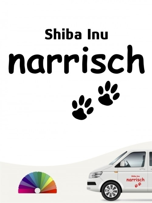 Hunde-Autoaufkleber Shiba Inu narrisch von Anfalas.de