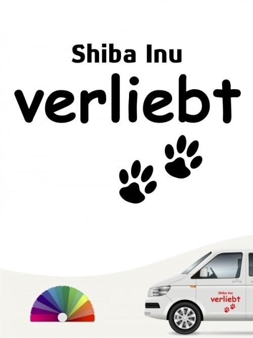 Hunde-Autoaufkleber Shiba Inu verliebt von Anfalas.de