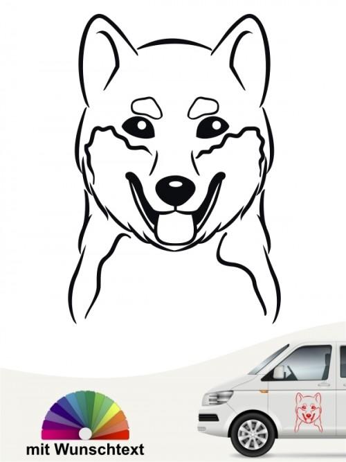 Shiba Inu Silhouette Autosticker mit Wunschtext anfalas.de