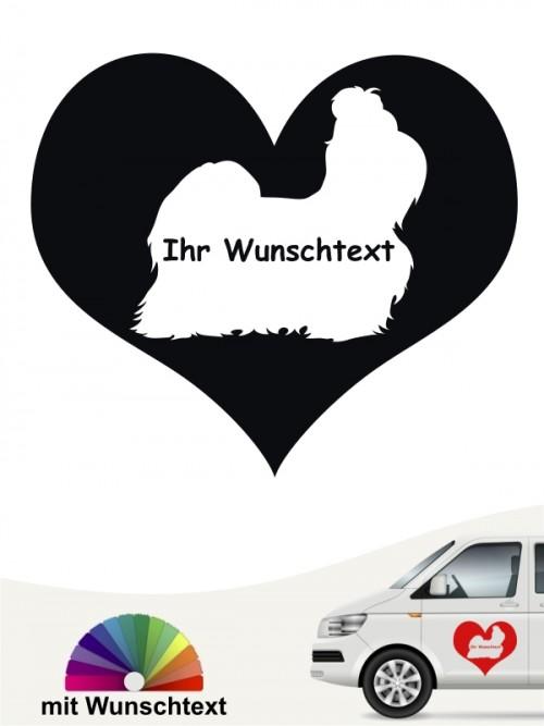 Shih Tzu Herzmotiv Autosticker mit Wunschname anfalas.de