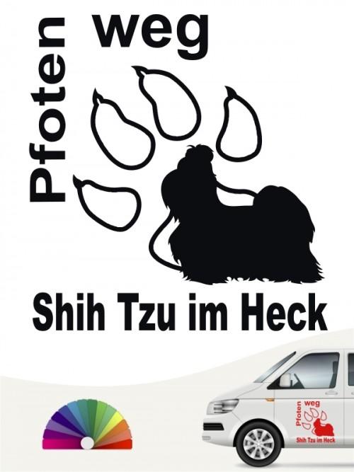 Pfoten weg Hundeaufkleber Shih Tzu anfalas.de