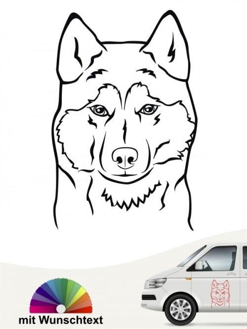 Siberian Husky Kopf Autoaufkleber mit Wunschtext anfalas.de