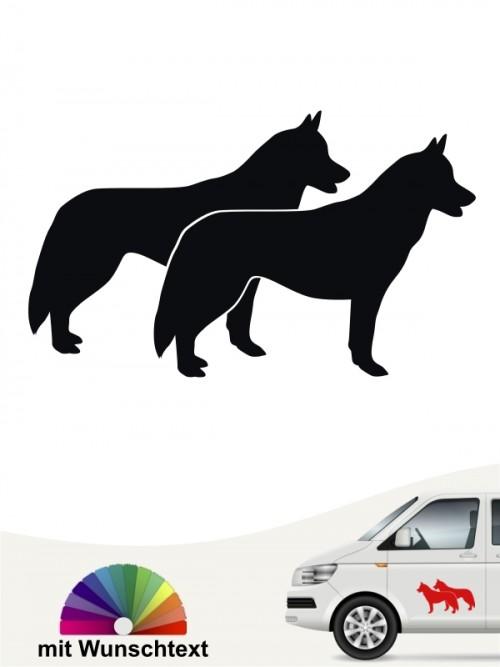 Siberian Husky doppel Silhouette mit Wunschtext anfalas.de