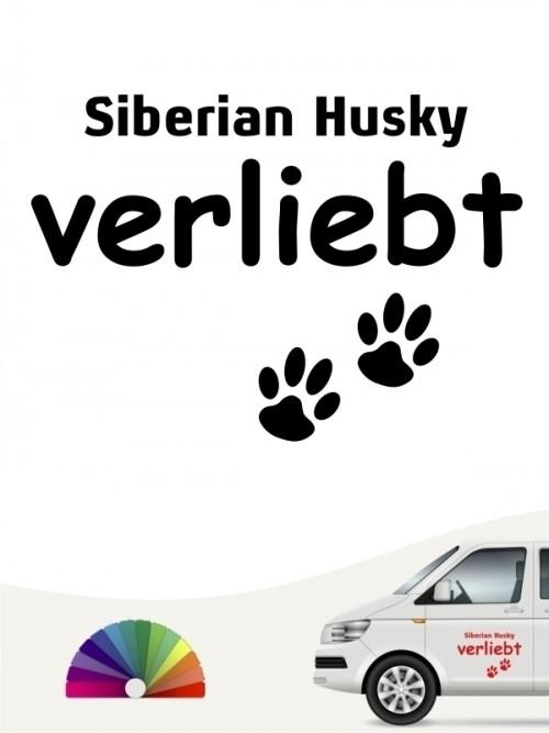 Hunde-Autoaufkleber Siberian Husky verliebt von Anfalas.de