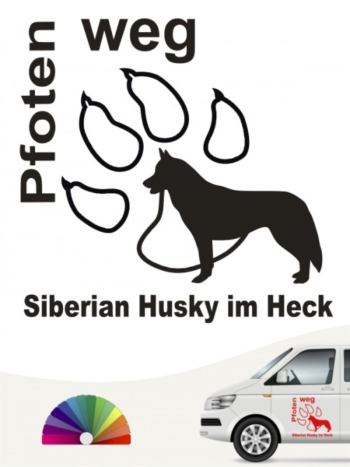 Siberian Husky Pfoten weg Autoaufkleber anfalas.de
