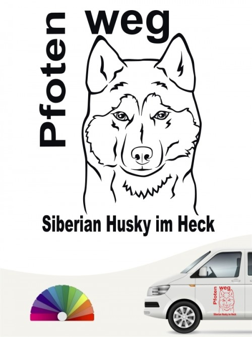 Pfoten weg Autoaufkleber Siberian Husky anfalas.de