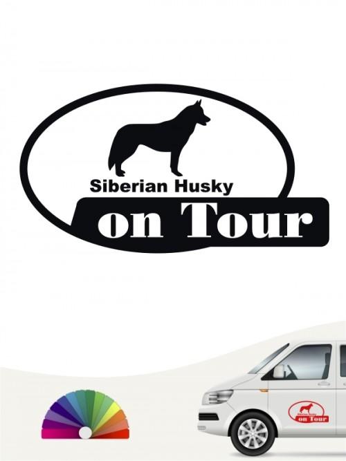 Siberian Husky on Tour Heckscheibenaufkleber anfalas.de