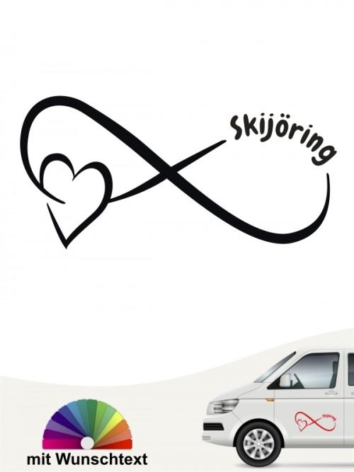 Skijöring Team Heckscheibenaufkleber mit Wunschtext von